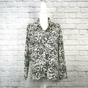 J.Crew Long Sleeve Blouse Black & White Sz 12